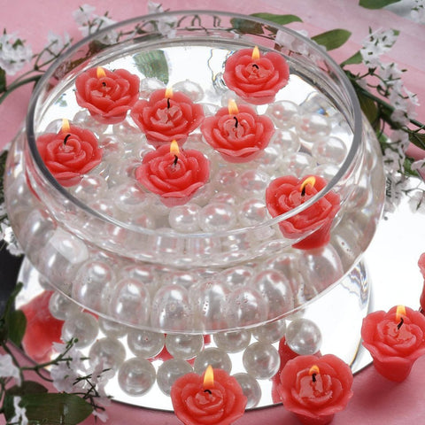 12 PCS Red Rose Mini Floating Candles Wedding Birthday Party Centerpiece Decor