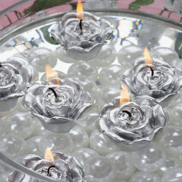 12 PCS Silver Rose Mini Floating Candles Wedding Birthday Party Centerpiece Decor