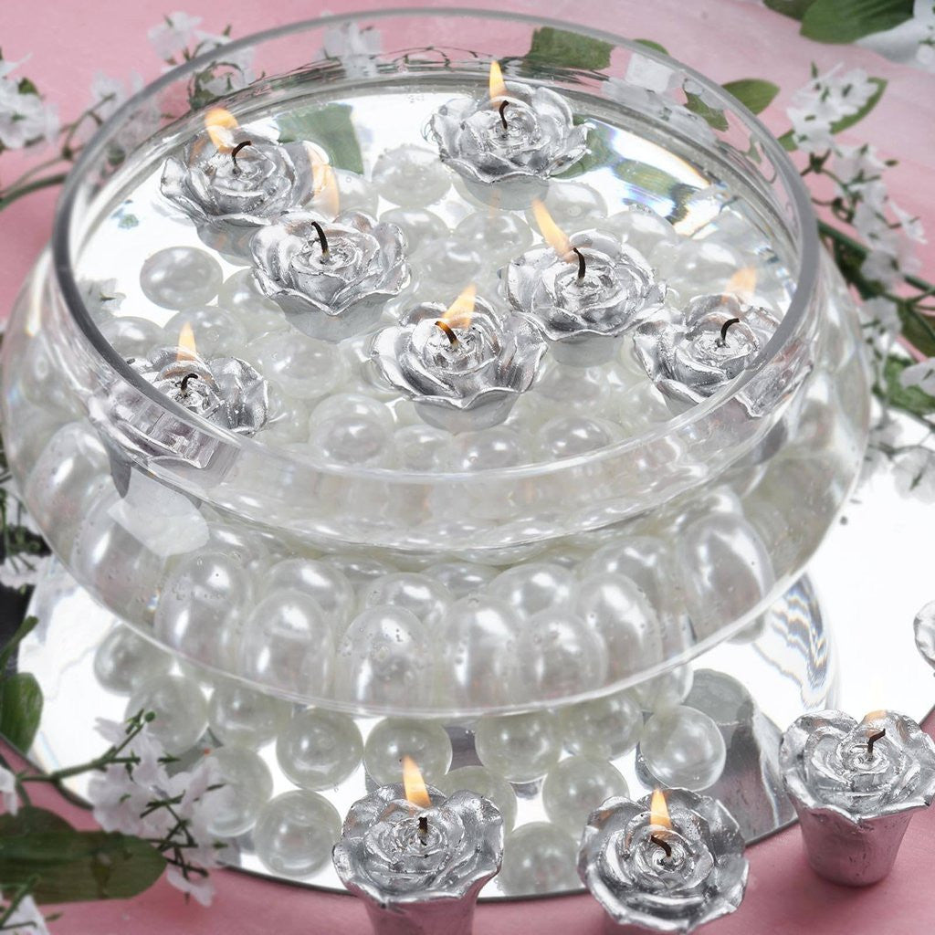 Silver Rose Mini Floating Candles Wedding Birthday Party Centerpiece ...