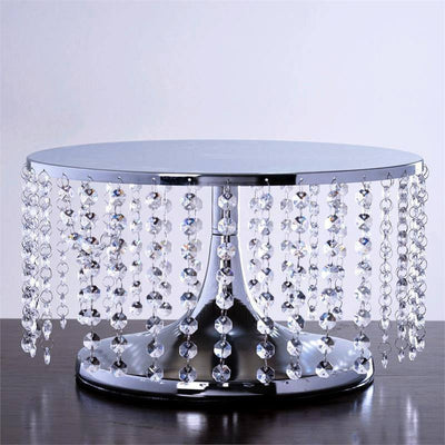 "Breathtaking Crystal Pendants Metal Chandelier Wedding Cake Stand - 7.5"" Tall"