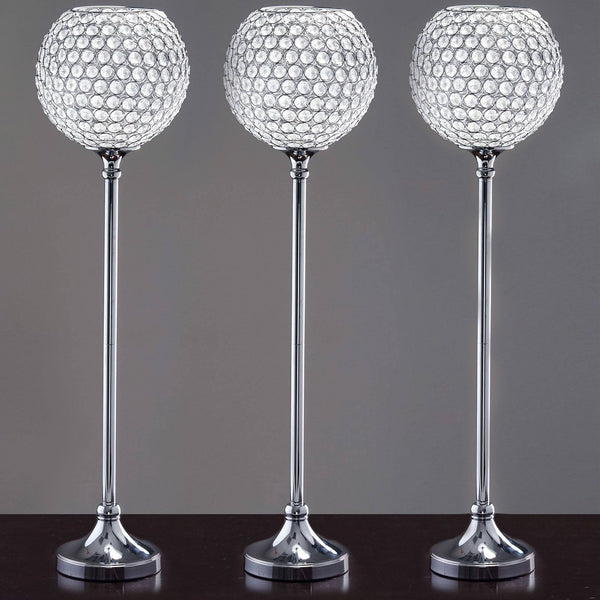 "10"" Ball x 37"" Tall Shangri-La Lamp Acrylic Diamond Chandelier - Clear"