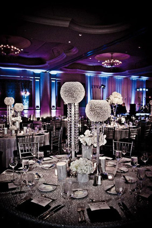 "37"" Silver Shangri La Crystal Acrylic Diamond Chandelier Lamp Wedding Centerpiece With 10"" Ball"