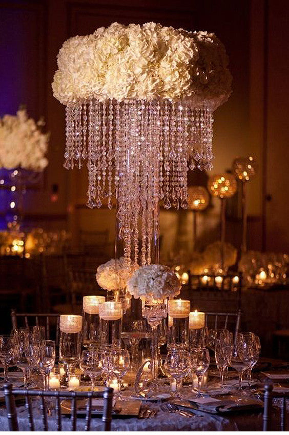 "30"" Acrylic Glass Diamond Pendant Chandelier Centerpiece For Wedding Party Decorative + FREE Chandelier Stand"