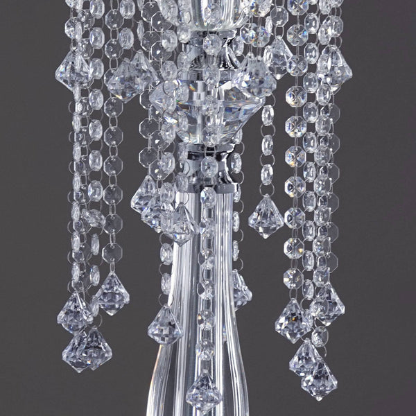 "19 Hanging Crystals with Large Teardrops Diamond Crystal Chandelier Wedding Centerpiece - 28"" tall"