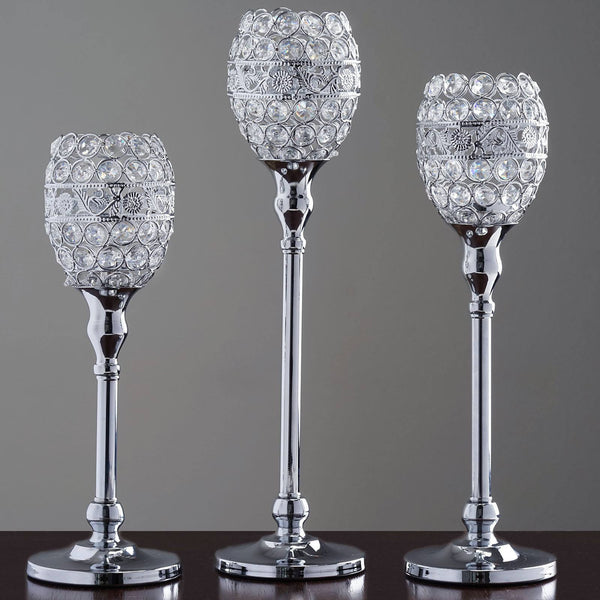 "SET of 2 Crystal Beaded Candle Holder Goblet Votive Tealight Wedding Centerpiece  16"" Tall"