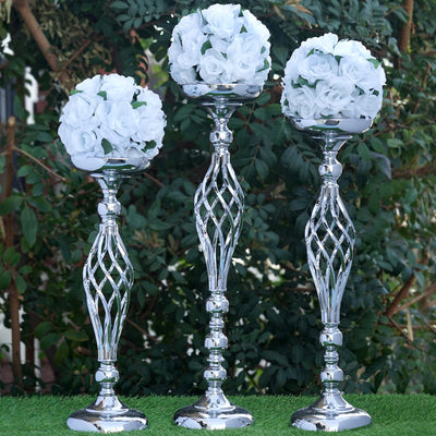 "19.5"" Tall Metal Wedding Flower Decor Candle Holder Vase Centerpiece - Silver - Buy 1 Get 1 Free"