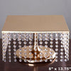 "14"" Bejeweled Gold Square Crystal Pendants Metal Chandelier Wedding Cake Stand"