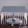 "14"" Bejeweled Silver Square Crystal Pendants Metal Chandelier Wedding Riser Cake Stand"