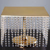 "16"" Bejeweled Gold Square Crystal Pendants Stainless Steel Chandelier Wedding Cake Stand"