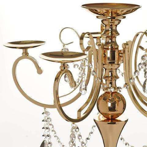 "27.5"" Tall Gold Metal Candelabra Chandelier Votive Candle Holder Wedding Centerpiece - With Acrylic Chains and Big TearDrops"