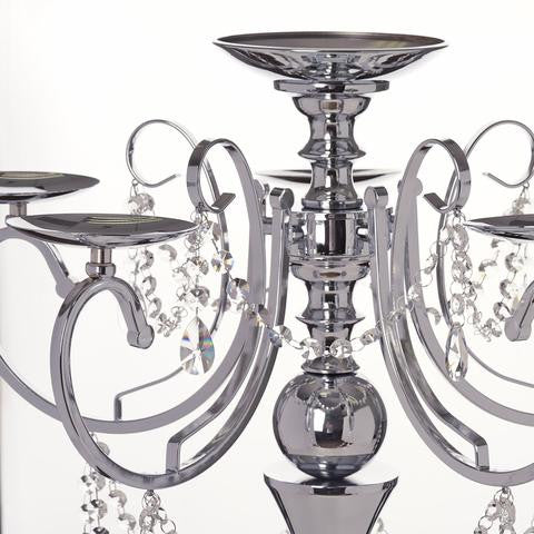 "27.5"" Tall Silver Metal Candelabra Chandelier Votive Candle Holder Wedding Centerpiece"
