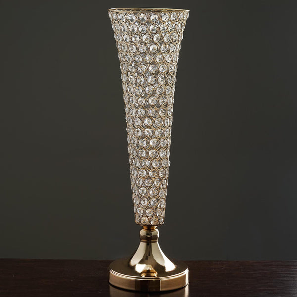 "23"" Tall Gold Beaded Crystals Trumpet Vase Wedding Centerpiece - Buy One Get One Free"