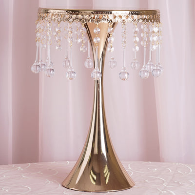 "17"" Tall Gold Metallic Trumpet Cake Riser Centerpiece with hanging Acrylic Crystal Chains"