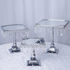 Set of 3 Silver Square Metallic Modern Cup Cake Riser Centerpiece Stand with Crystal Pendant Chains