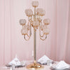 "40"" Gold Crystal Beaded 13 Arm Candelabra Chandelier Votive Candle Holder Wedding Centerpiece"