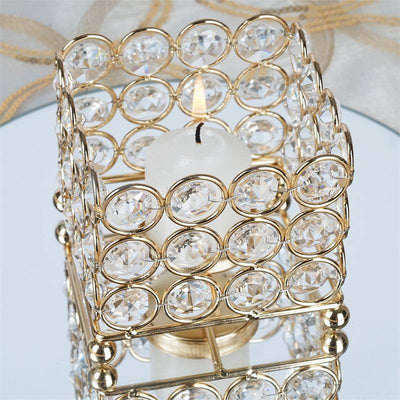 "Illuminating Square Votive Tealight Wedding Crystal Candle Holder - Gold - 3.25"" W x 3.25"" L x 2.5"" H"