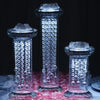 Gemcut Egyptian Handcrafted Glass Crystal Pillar Vase Chandelier Table Top Wedding Centerpiece - Set of 3 PCS