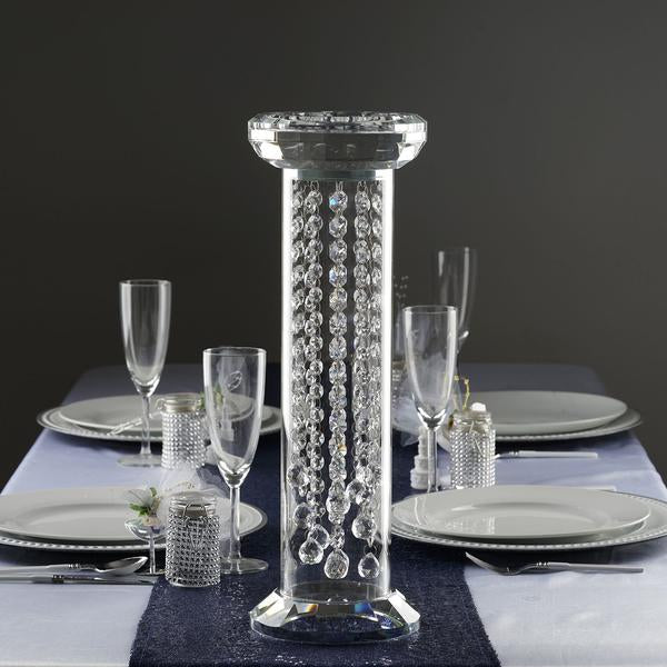 "18"" Gemcut Egyptian Handcrafted Glass Crystal Pillar Vase Chandelier Table Top Wedding Centerpiece - 1 PCS"