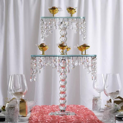 "21"" Gemcut Egyption Handcrafted Glass Chandelier Crystal Wedding Cake Riser Stand - 1 PCS"