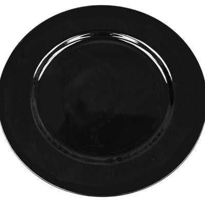 "13"" Acrylic Black Round Charger Server Plate Dinnerware - Set of 6"