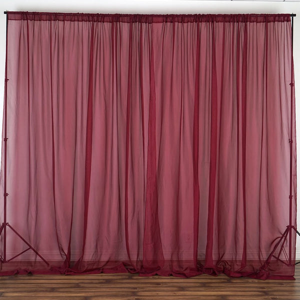 10ft Fire Retardant Burgundy Sheer Curtain Panel Backdrops