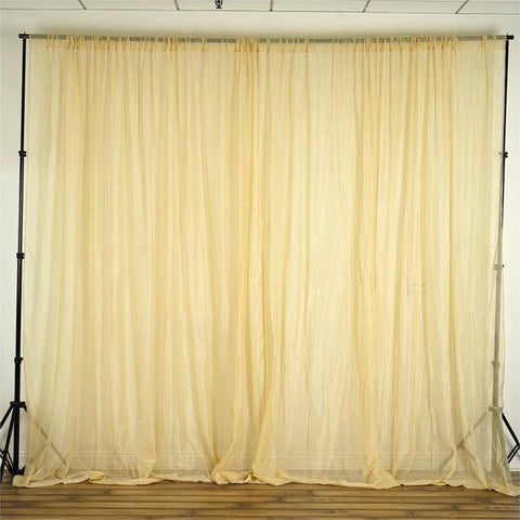 10FT  Premium Fire Retardant Champagne Sheer Voil Curtain Panel Backdrop - Premium Collection