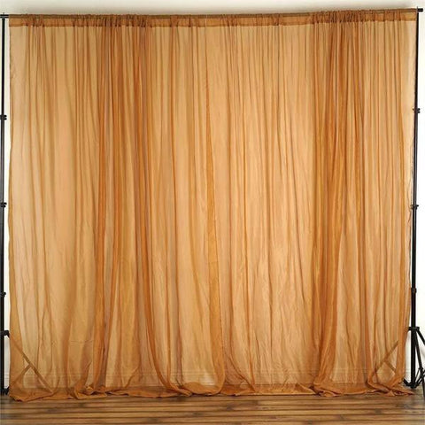 10FT Fire Retardant Gold Sheer Voil Curtain Panel Backdrop - Premium Collection