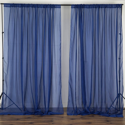 10FT Fire Retardant Navy Blue Sheer Curtain Panel Backdrops Window Treatment With Rod Pockets