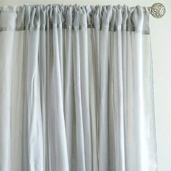 10FT Fire Retardant Silver Sheer Curtain Panel Backdrops Window Treatment With Rod Pockets - Premium Collection