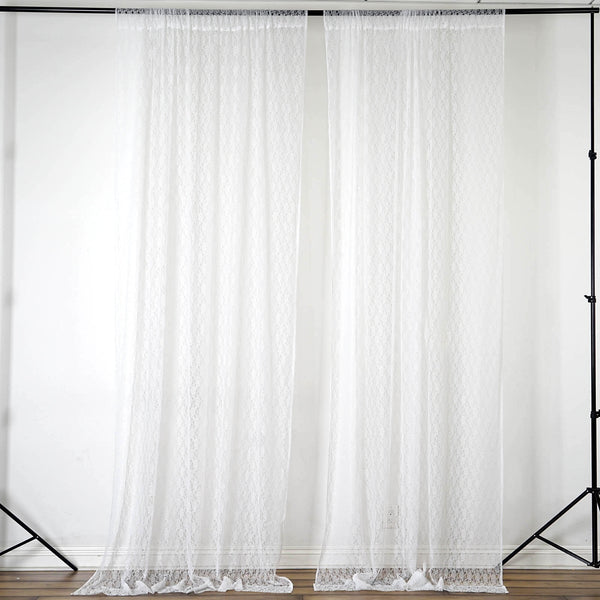Set Of 2 Ivory Fire Retardant Sheer Floral Lace Premium Curtain Panel Backdrops Window Treatment With Rod Pockets - 5FTx10FT