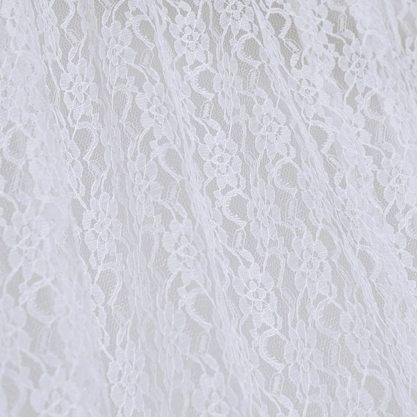 Set Of 2 White Fire Retardant Sheer Floral Lace Premium Curtain Panel Backdrops Window Treatment With Rod Pockets - 5FTx10FT