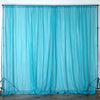 10FT Fire Retardant Turquoise Sheer Curtain Panel Backdrops Window Treatment With Rod Pockets - Premium Collection