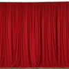 Set Of 2 Red Fire Retardant Polyester Curtain Panel Backdrops Window Treatment With Rod Pockets - 5FTx10FT