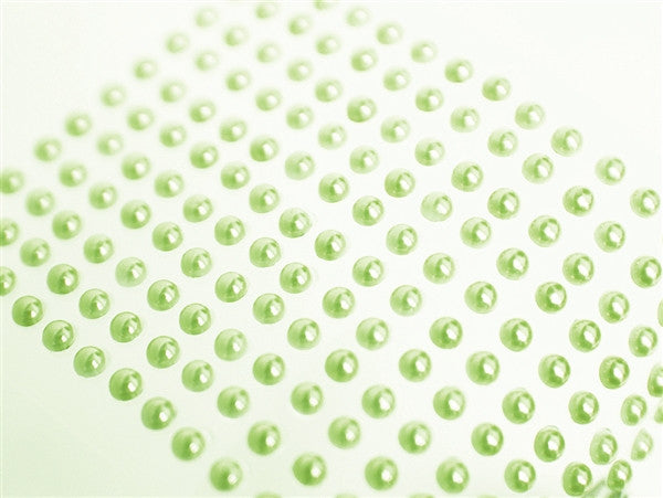 Self Adhesive Diamond Rhinestone Pearl Shape Peel Stickers- Apple Green - 1056 PCS