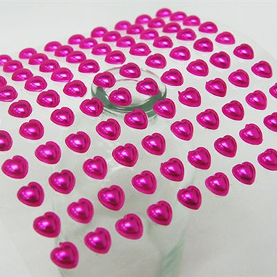 Self Adhesive Diamond Rhinestone Heart Shape Peel Stickers- Fushia - 600 PCS