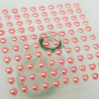 Self Adhesive Diamond Rhinestone Heart Shape Peel Stickers- Pink - 600 PCS