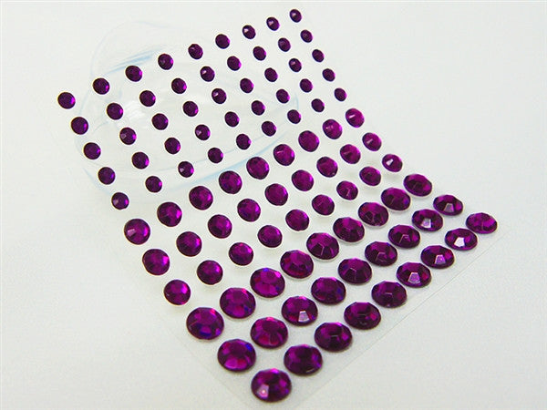 Wholesale Self Adhesive Multi-sized Crystal Diamond Rhinestone Stickers - Purple  594 PCS