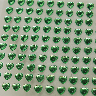 Heart Design Wholesale Self Adhesive Crystal Diamond Rhinestone Stickers - Apple Green  600 PCS