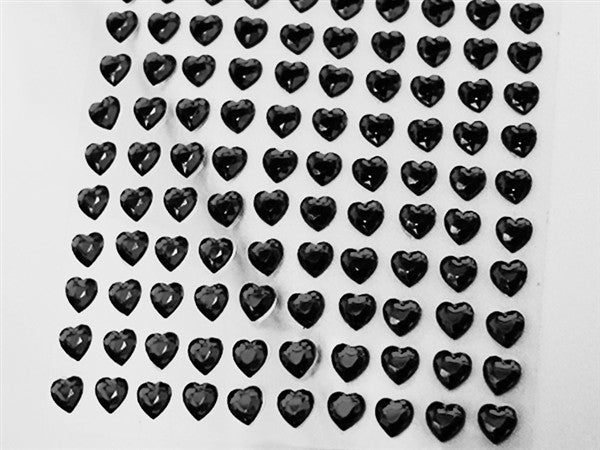 Heart Design Wholesale Self Adhesive Crystal Diamond Rhinestone Stickers - Black   600 PCS
