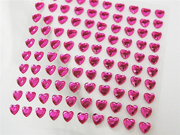 Heart Design Wholesale Self Adhesive Crystal Diamond Rhinestone Stickers - Fushia  600 PCS