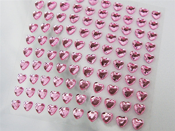 Heart Design Wholesale Self Adhesive Crystal Diamond Rhinestone Stickers - Pink  600 PCS