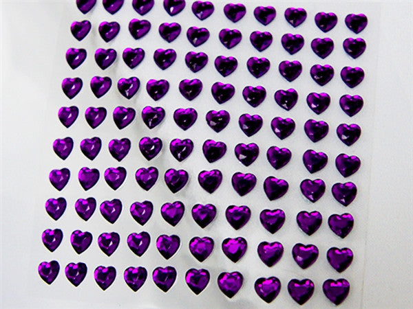 Heart Design Wholesale Self Adhesive Crystal Diamond Rhinestone Stickers - Purple  600 PCS