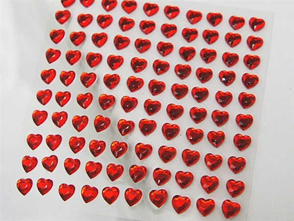 Heart Design Wholesale Self Adhesive Crystal Diamond Rhinestone Stickers - Red  600 PCS