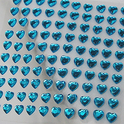 Heart Design Wholesale Self Adhesive Crystal Diamond Rhinestone Stickers - Turquoise  600 PCS