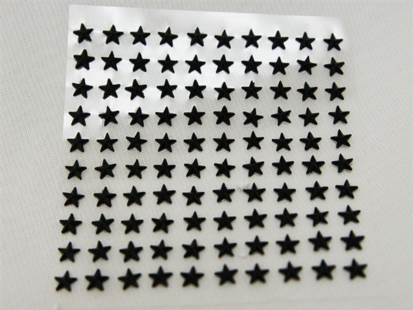 Self Adhesive Diamond Rhinestone Star shape Peel Stickers- Black  - 600 PCS