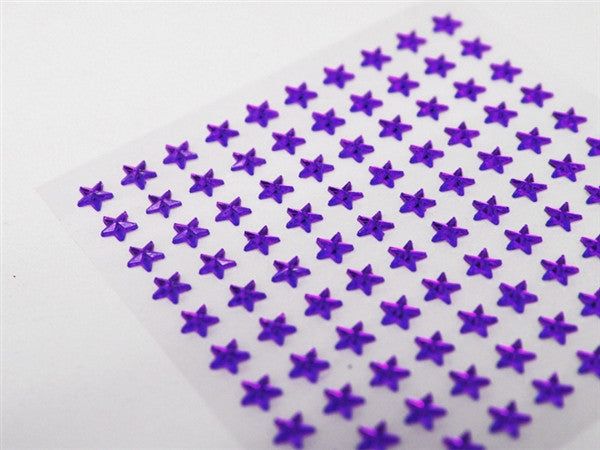 Self Adhesive Diamond Rhinestone Star shape Peel Stickers- Purple - 600 PCS