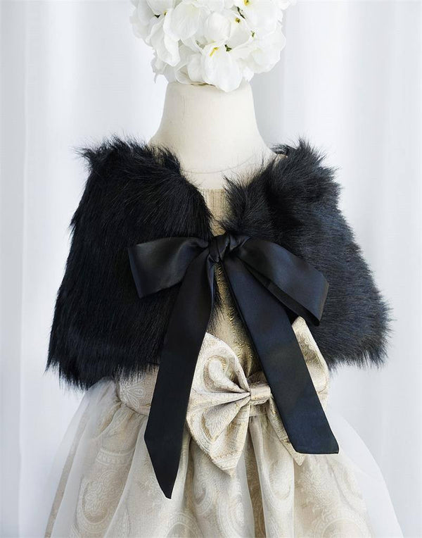 RIBBON BOW SHOULDER WRAP SOFT FAUX FUR SHAWL - Black
