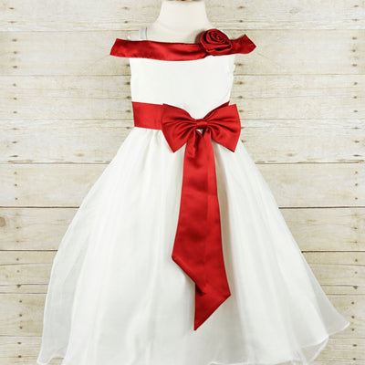Stunning Ruby Red Sash and Bow Flower Girl Tulle Dress - Red