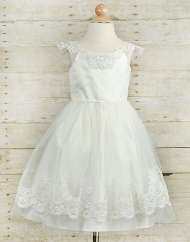 Alluring Embroidered Lace and Mesh Tulle Dress - White