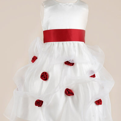 Red and White Rose Dress - Red